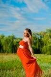 kobieta w ciąży szczęśliwi potomstwa Fotografia Royalty Free