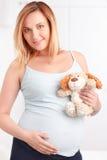 Kobieta w ciąży trzyma puszystą zabawkę zdjęcie royalty free