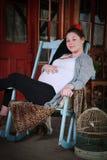 kobieta w ciąży uśmiechnięta Obrazy Royalty Free
