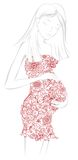 Kobieta w ciąży w kwiecistej sukni Zdjęcie Stock