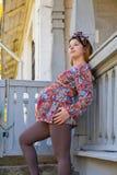 Kobieta w ciąży w spadku Zdjęcia Royalty Free