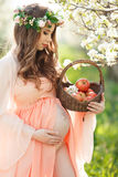 Kobieta w ciąży w wiosna ogródzie z koszem Obrazy Stock