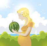 Kobieta w ciąży z arbuzem Obrazy Stock