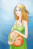 Kobieta w ciąży z kwiatem w ręce Obrazy Royalty Free