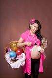 Kobieta w ciąży z psem Zdjęcie Stock