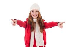 Kobieta w ciepłej odzieży odizolowywającej Obrazy Royalty Free