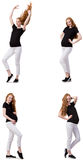 Kobieta w ciąży w złożonym wizerunku odizolowywającym na bielu Fotografia Stock