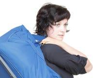 Kobieta i naramienna torba odizolowywający Obraz Stock