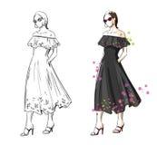 Kobieta w czarnej lato sukni, wektorowa mody ilustracja ilustracji