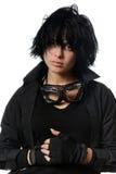 Kobieta w czarnej przypadkowej odzieży z eleganckimi galsses Zdjęcia Stock
