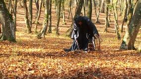 Kobieta W Czarnym kładzenia zwierzęciu W klatkę W lesie zdjęcie wideo