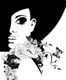 Kobieta w czarnym kapeluszu z kwiatami i motylami royalty ilustracja