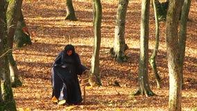 Kobieta W Czarnym odprowadzeniu W jesień lesie zbiory wideo