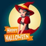 Kobieta w czarownica kostiumu Wektor karta z tekstem Zdjęcie Royalty Free