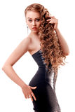 Kobieta w czerni sukni Zdjęcia Stock
