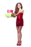 Kobieta w czerwieni sukni Zdjęcia Royalty Free