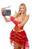 Kobieta w czerwieni sukni Obrazy Royalty Free