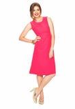 Kobieta w czerwieni sukni Biały tło Zdjęcia Royalty Free