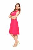 Kobieta w czerwieni sukni Odosobniony biały tło Zdjęcia Royalty Free