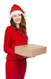 Kobieta w czerwieni sukni z wiele prezentów pudełkami Zdjęcie Stock