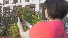Kobieta w czerwieni ubraniach bierze obrazki kwiaty na jej telefonie komórkowym zbiory wideo