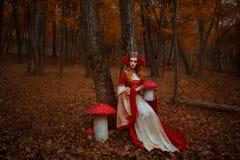 Kobieta w czerwonej średniowiecznej sukni obrazy stock