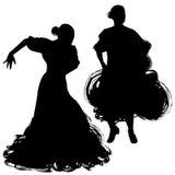 Kobieta w długim suknia pobycie w taniec pozie flamenco tancerza Hiszpańscy regiony Andalusia, Extremadura Murcia czarna sylwetka Zdjęcia Stock