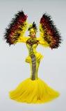 Kobieta w fantazja kostiumu z piórkowymi rękawami Obraz Royalty Free