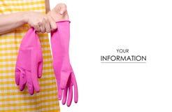 Kobieta w fartuchu w rękach czyści rękawiczka wzór obrazy stock