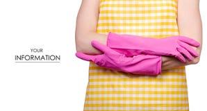 Kobieta w fartuchu w rękach czyści rękawiczka wzór obraz royalty free