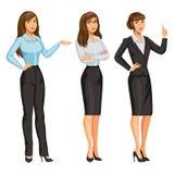 Kobieta w garniturze z szkłami Dziewczyna w różnych pozach ilustracja wektor