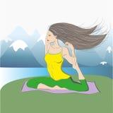 Kobieta w gołębiej joga pozie outdoors Royalty Ilustracja