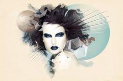 Kobieta w grunge grafice Zdjęcie Royalty Free