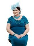 Kobieta w handmade błękitnym organza kapeluszu Fotografia Royalty Free