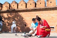 Kobieta w jaskrawej czerwieni sukni kuca żywieniowych gołębie w Pratu Tha Obraz Royalty Free