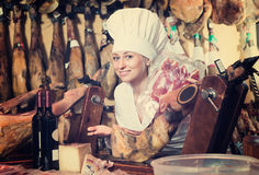 Kobieta w jednolitym działaniu z mięsem Obraz Stock