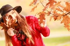 Kobieta w jesień parka zrywania złota liściach Fotografia Royalty Free
