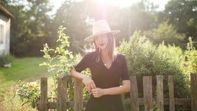 Kobieta w kapeluszu w lato wsi ogródzie zdjęcie wideo