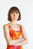 Kobieta w kolorowej sukni obraz stock