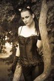 Kobieta w kot sukni Fotografia Royalty Free