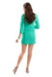 Kobieta w krótkiej turkus sukni Zdjęcie Royalty Free