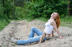 Kobieta w lesie Zdjęcia Stock
