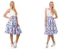 Kobieta w mod spojrzeniach odizolowywających na bielu Fotografia Royalty Free