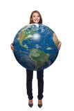 Kobieta w pełnej długości mienia ziemi kuli ziemskiej Zdjęcie Stock