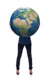 Kobieta w pełnej długości mienia ziemi kuli ziemskiej Fotografia Royalty Free