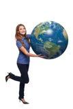 Kobieta w pełnej długości mienia ziemi kuli ziemskiej Obraz Royalty Free