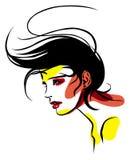 Kobieta w profilu z falistym włosy Obraz Royalty Free