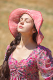 Kobieta w pszenicznym polu Obrazy Royalty Free