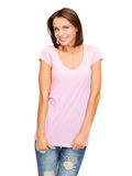 Kobieta w puste miejsce menchii koszulce Zdjęcie Stock