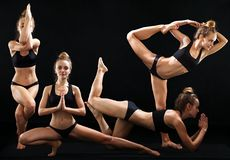 Kobieta w różnych joga asanas zdjęcie royalty free